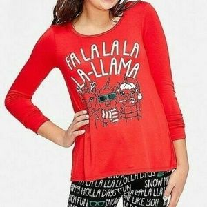 Girls Size 10 Justice Red Christmas Lama Shirt
